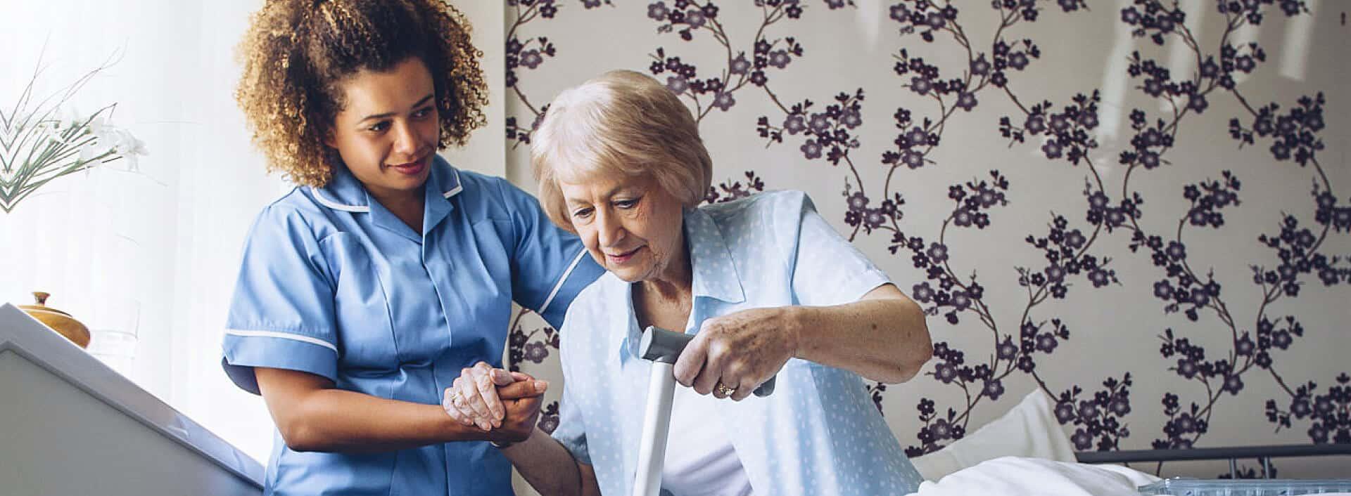caregiver caring senior woman